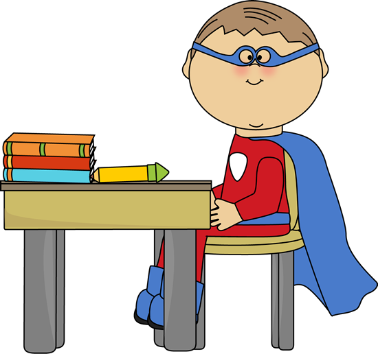 Boy Superhero at School Desk