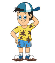 boy wearing hat with muddly c - Clipart Of Boy