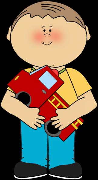 Boy with a Firetruck - Clipart Of Boy