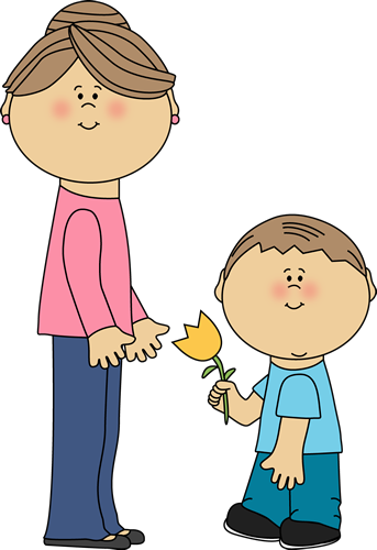Boy With Flower For Mom Clip Art Image Boy Giving A Flower To Mom