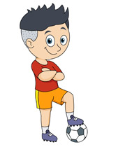 boy with football soccer ball clipart. Size: 64 Kb