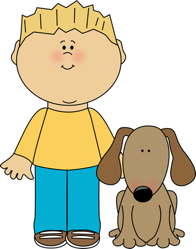 Boy With Pet Dog Clip Art Image Blond Haired Boy With His Pet Dog