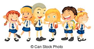 ... Boys And Girls In School Uniform Ill-... Boys and girls in school uniform illustration-4