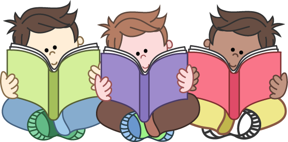 Boys Reading Group Clipart - Kids Reading Clipart