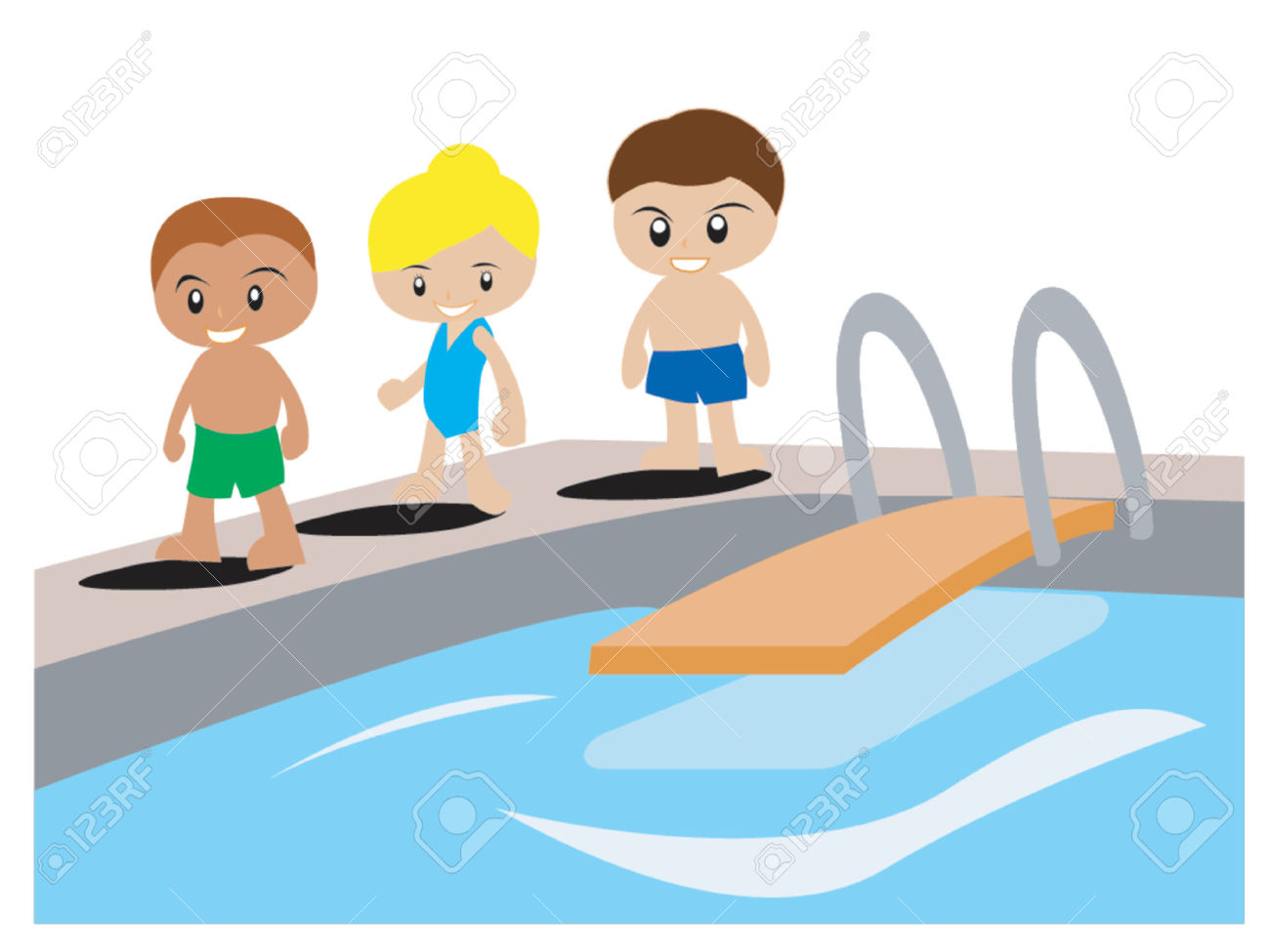 Boys swimming pool clipart