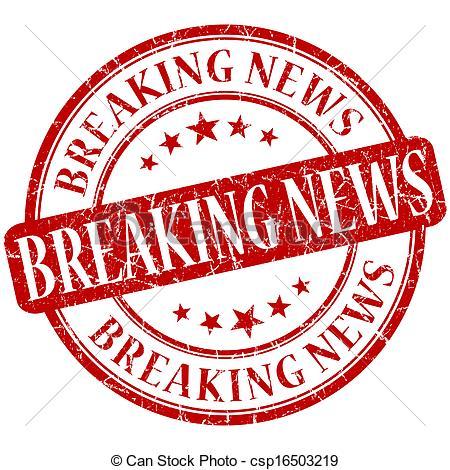 Breaking News Grunge Red Round Stamp Csp16503219