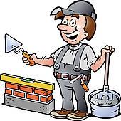 Brick Layer Mason Masonry Worker Retro u0026middot; illustration of an Happy Bricklayer