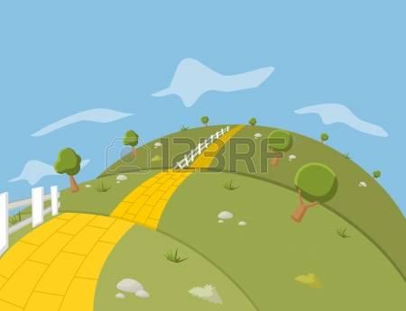 brick road: Yellow Brick Road on green hill