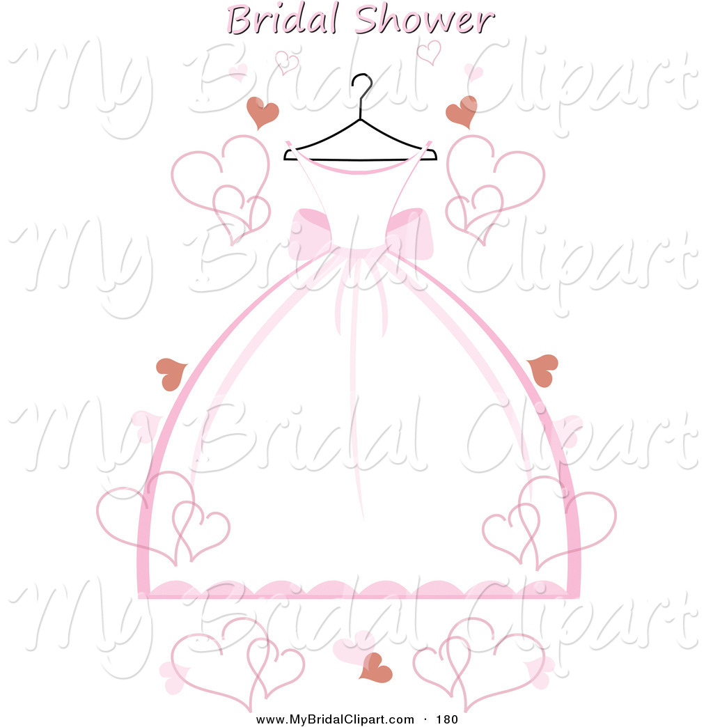 Bridal Clipart Of A Pink And White Poofy-Bridal Clipart Of A Pink And White Poofy Wedding Dress On A Hanger-4