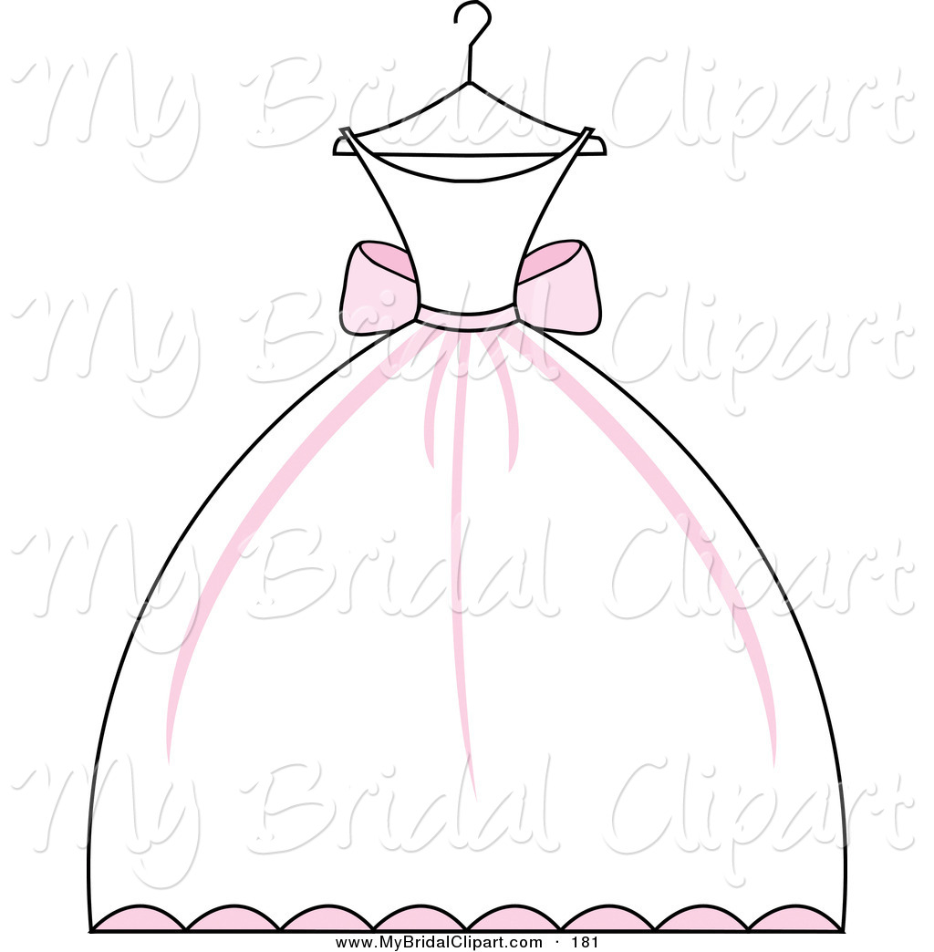 Bridal Clipart Of A Pink And White Weddi-Bridal Clipart Of A Pink And White Wedding Dress On A Hanger On White-2