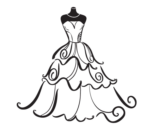 Bridal Dress Silhouette Clipart Clipart Kid