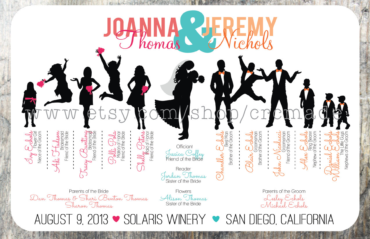 Bridal Party Silhouette Clip Art Silhouette Wedding Program