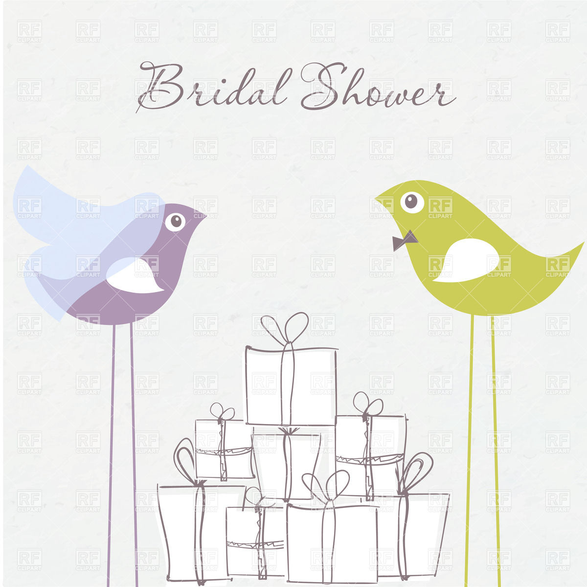 Bridal Shower Invitation Birds In Bride And Groom Costumes And Gift