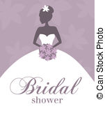 ... Bridal Shower Invitation - Illustration of a young elegant.