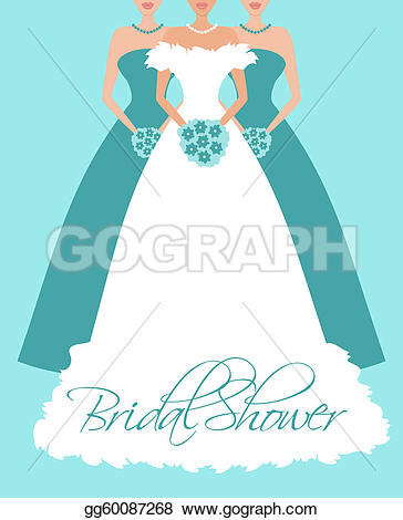 Bridal Shower Invitation u0026middot; Bride and Bridesmaids in Blue