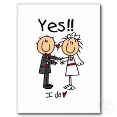 Bride And Groom Cartoon Figures | YES I Do Bride and Groom T-shirts and