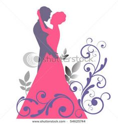 Bride and Groom Clip Art | Bride and Groom Silhouettes with Flourish Clipart Image
