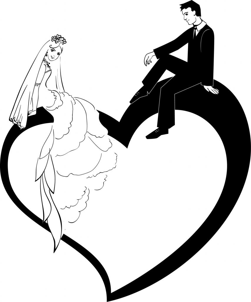 Bride and groom clip art clipart image