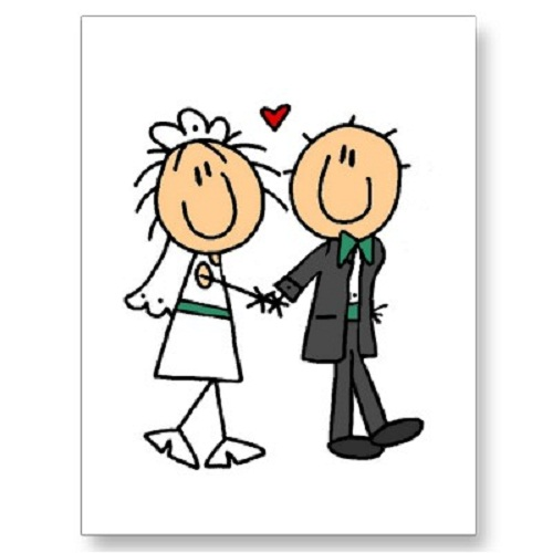 Bride and groom funny clipart