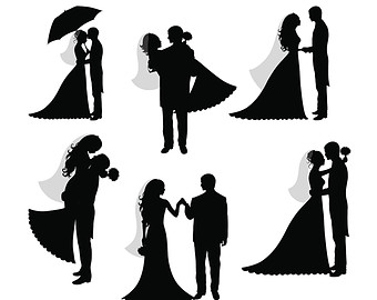 Bride and Groom Silhouettes .