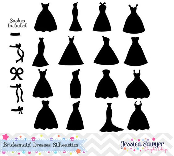 Bridesmaid Dresses Silhouettes Clipart f-Bridesmaid Dresses Silhouettes Clipart for greeting cards, announcements, invites, and Diy Wedding gifts-13