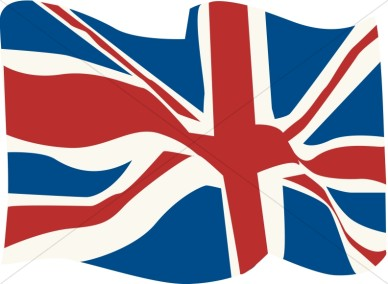 British Flag clip art. British Flag in the WInd .