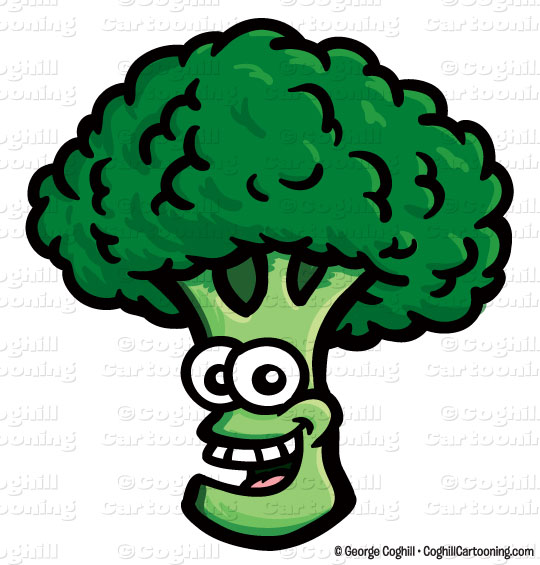 Smiling broccoli cartoon character clip art stock illustration by George  Coghill.