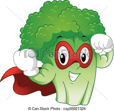 Strong Mascot Broccoli Superhero - csp35921324