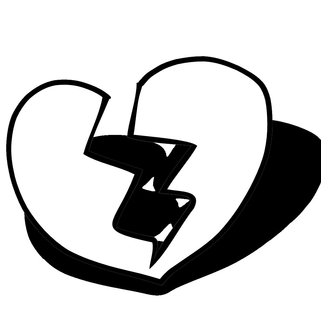 broken heart clipart black and white-broken heart clipart black and white-9