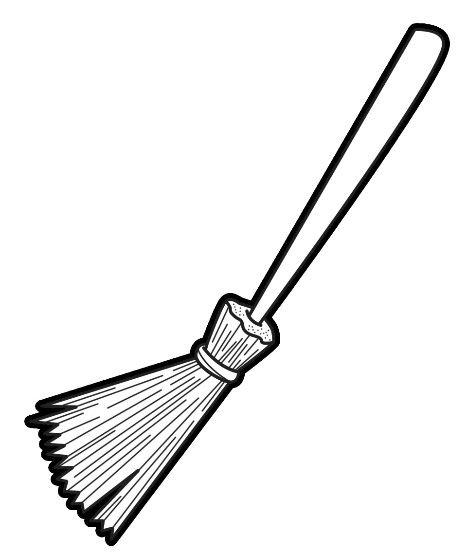 broom clipart black and white-broom clipart black and white-7