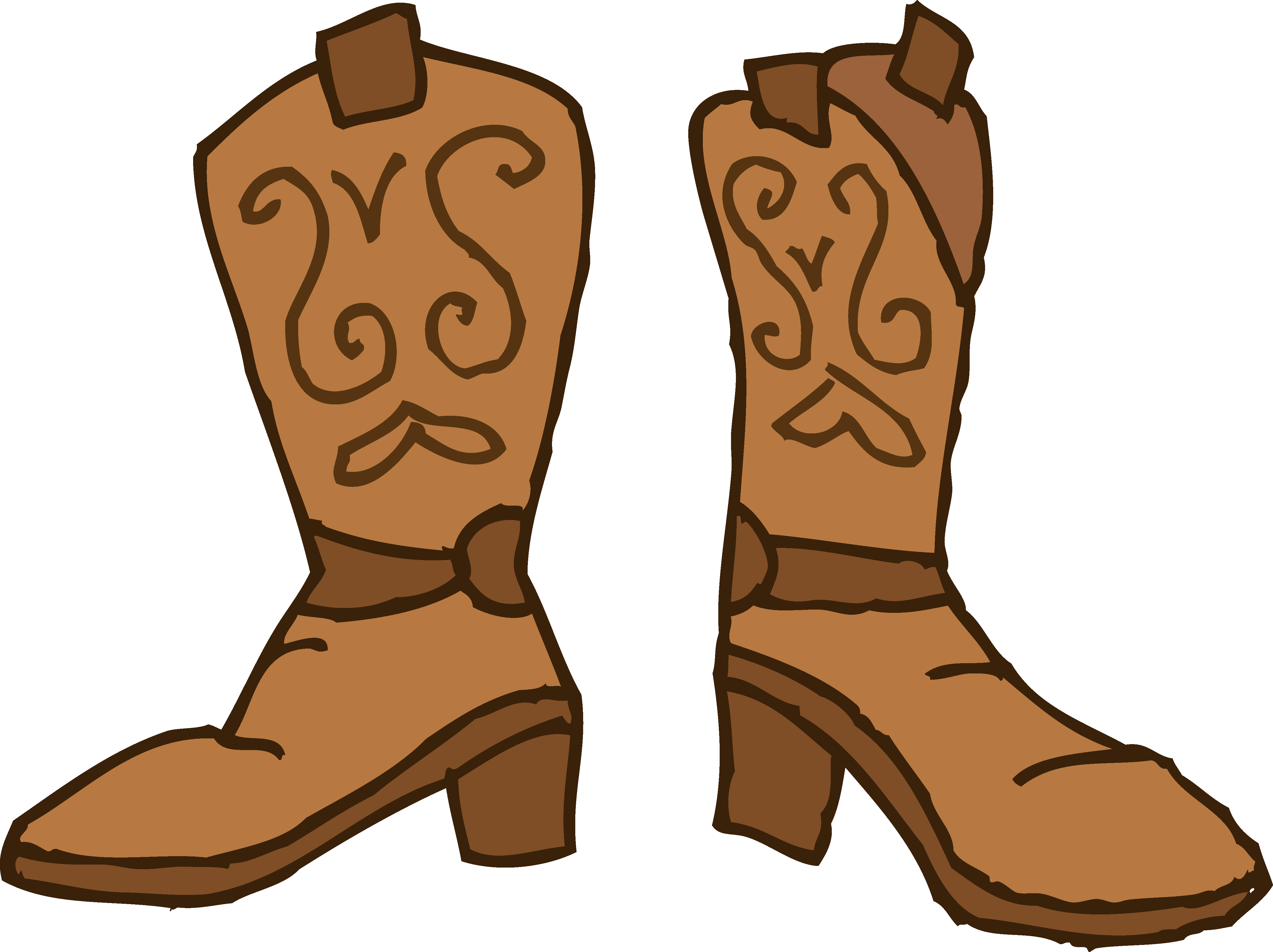 Brown cowboy boots .