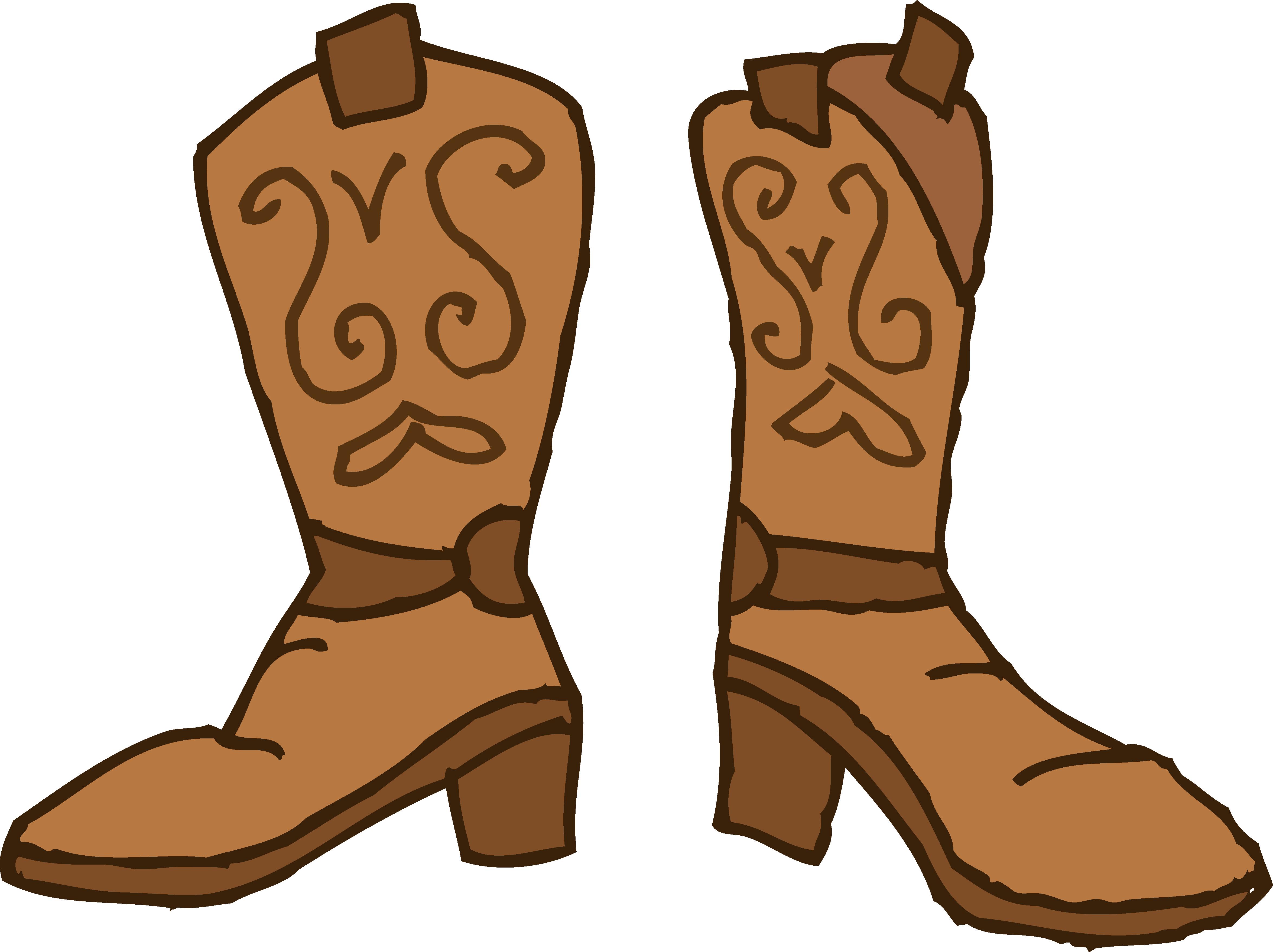 Brown cowboy boots .