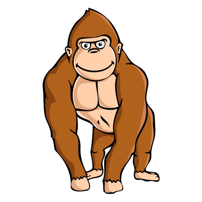 Brown Gorilla With Knuckles On Ground Wall Decalkowalla