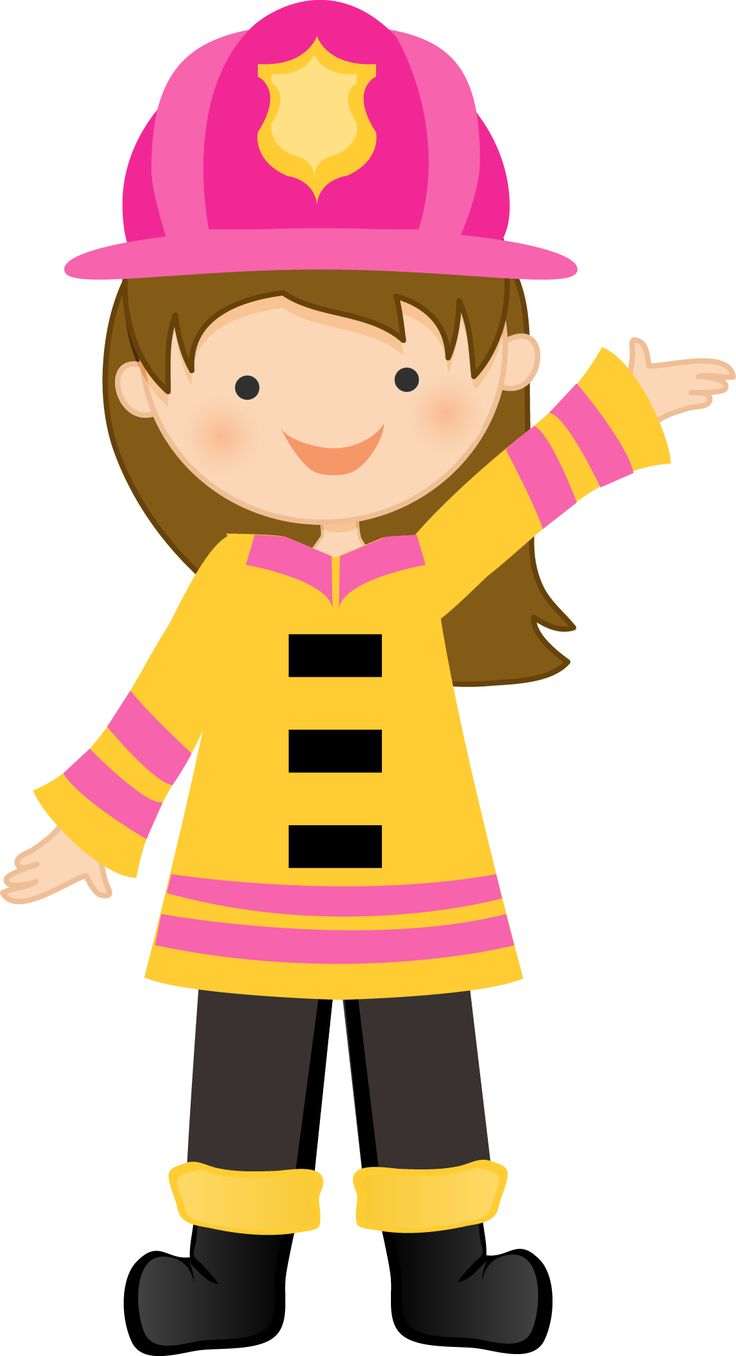 Brown Haired Firegirl. Minus - Say Hello-Brown haired firegirl. Minus - Say Hello! Clipart-1