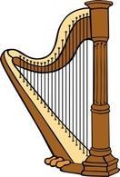 Brown Music Musical Harp Equipment Instr-Brown Music Musical Harp Equipment Instrument u0026middot; Celtic Harp clip art Thumbnail-1