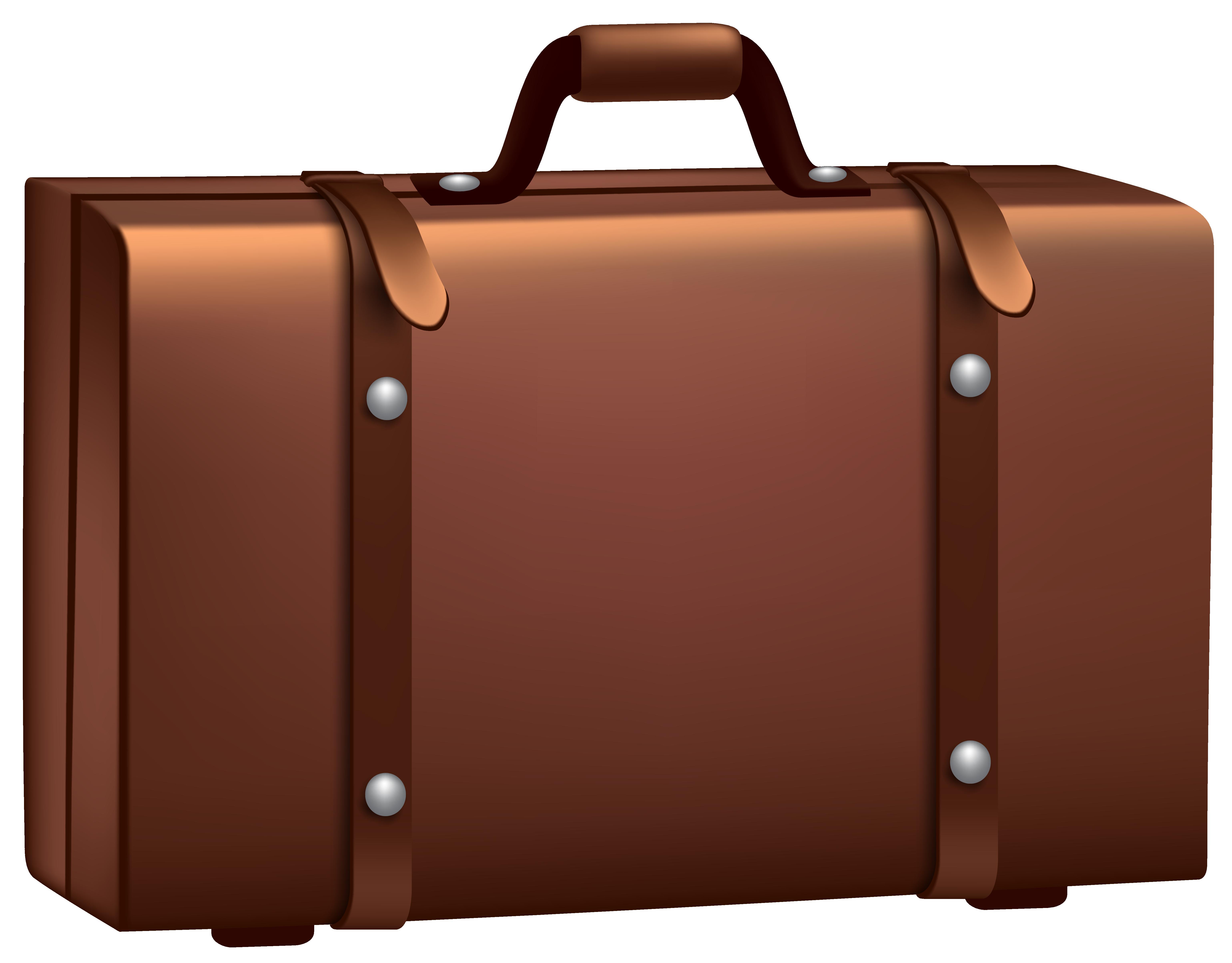Brown Suitcase PNG Clip Art . - Clipart Suitcase