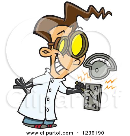 Brunette Mad Scientist Boy Pulling An El-Brunette Mad Scientist Boy Pulling An Electric Switch by Ron Leishman-16