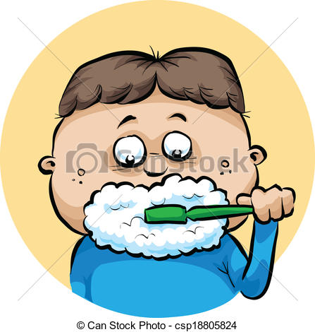 ... Brushing Teeth - A cartoon boy makes-... Brushing Teeth - A cartoon boy makes foam while brushing his.-11
