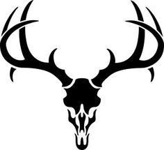 Buck Antlers Skull Decal .