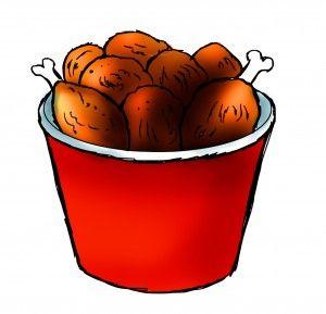 bucket of fried chicken .