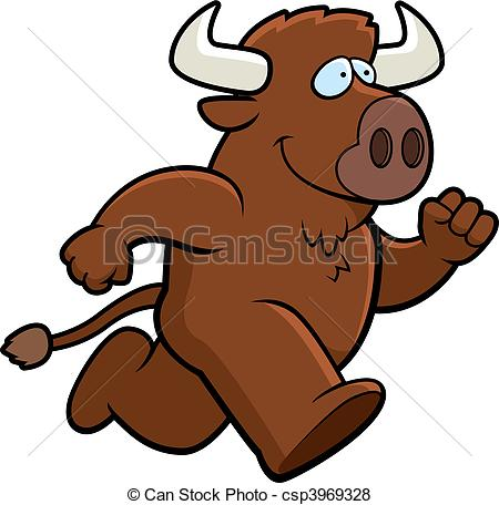 ... Buffalo Running - A happy cartoon buffalo running and.