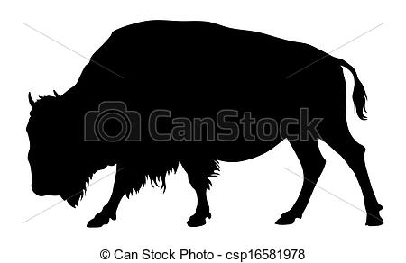 ... Buffalo - Vector illustration of buffalo silhouette
