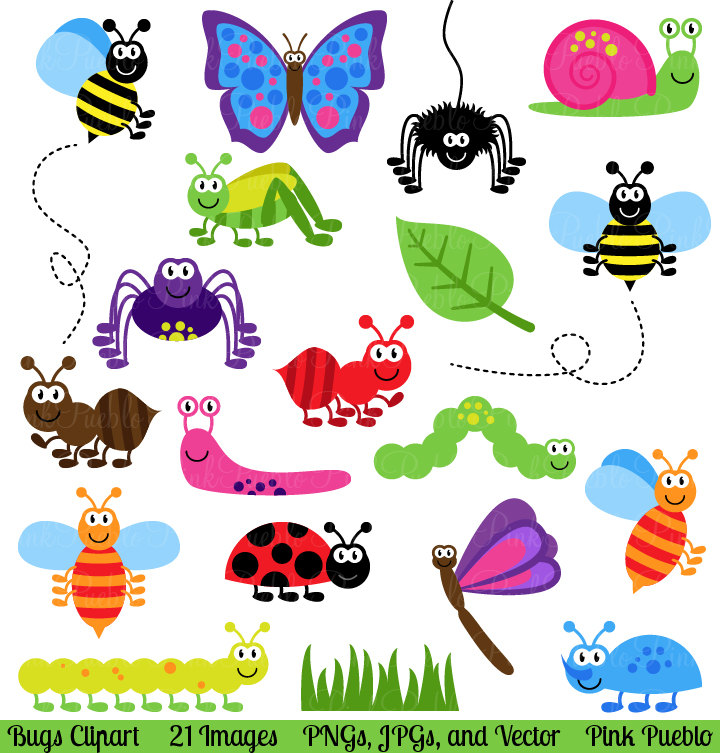 Bugs Clipart Clip Art, Insects Clipart C-Bugs Clipart Clip Art, Insects Clipart Clip Art Vectors - Commercial and Personal-3