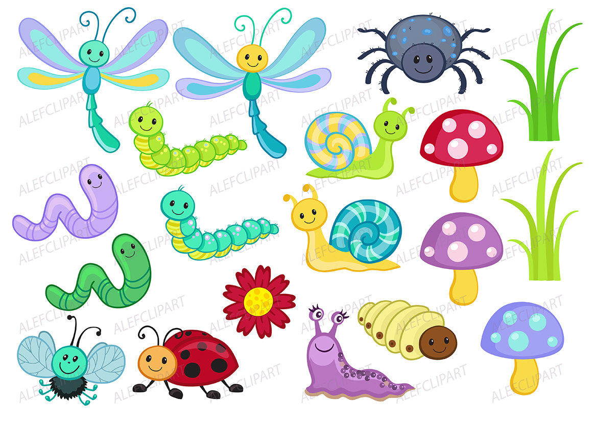 Bugs Clipart, Happy Bugs - Clipart Color-Bugs clipart, Happy Bugs - Clipart Coloring, Clipart Set Stamp-6