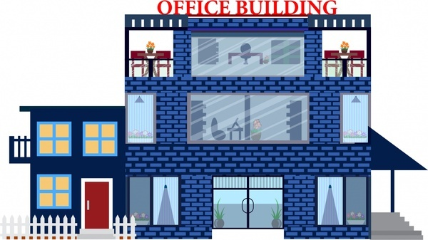 office building sketch brick wall architecture