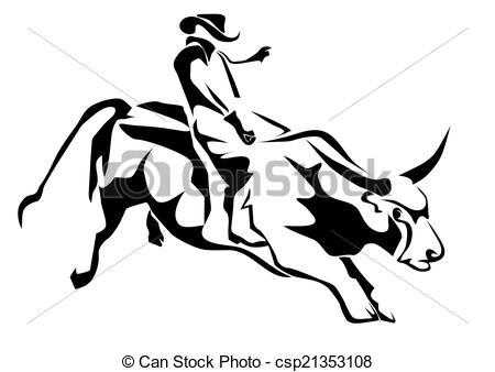 ... Bull Riding. Silhouette Cowboy And B-... bull riding. silhouette cowboy and bull isolatd on white-10