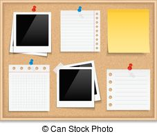 ... Bulletin Board - Bulletin board with photos and paper notes,.