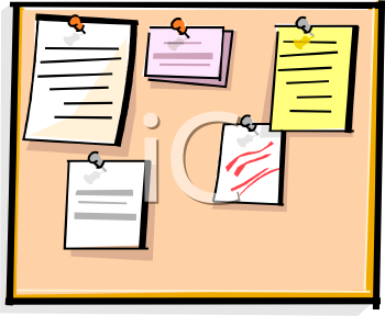 Bulletin Board With Papers Tacked To It Royalty Free Clip Art Image
