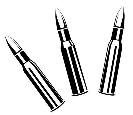 Vector set of bullets for rifles isolated on white background Illustration