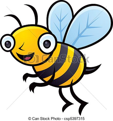 Bumblebee - Cartoon vector illustration of a happy little.